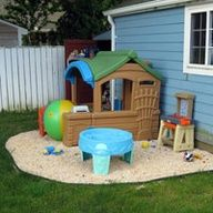 kids play area, we have a play area in our back yard.  It is soooo nice because we dont have to move toys when we want to mow!
