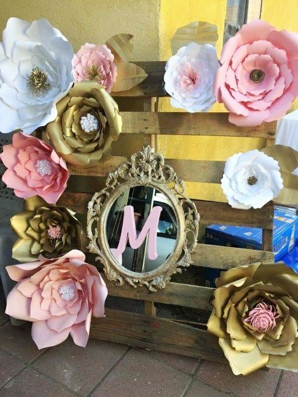Seruhrosedesigns pink gold baby shower flower paper backdrop shabby chic princess pallet mirror monogram