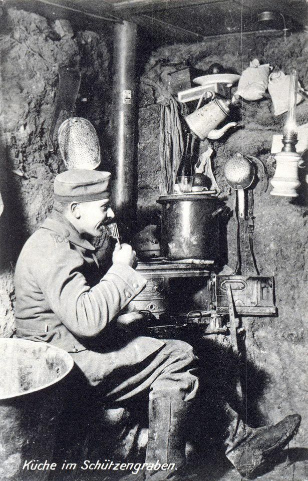 Kitchen in the trench. WW1