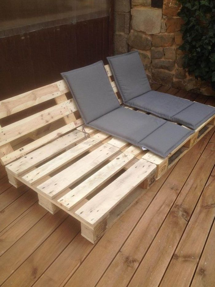 inspiring ideas on the subject of pallet furniture garden …  inspiring ideas on the subject of pallet furniture garden here you will find a deck chair made of europallets and with gray cushions