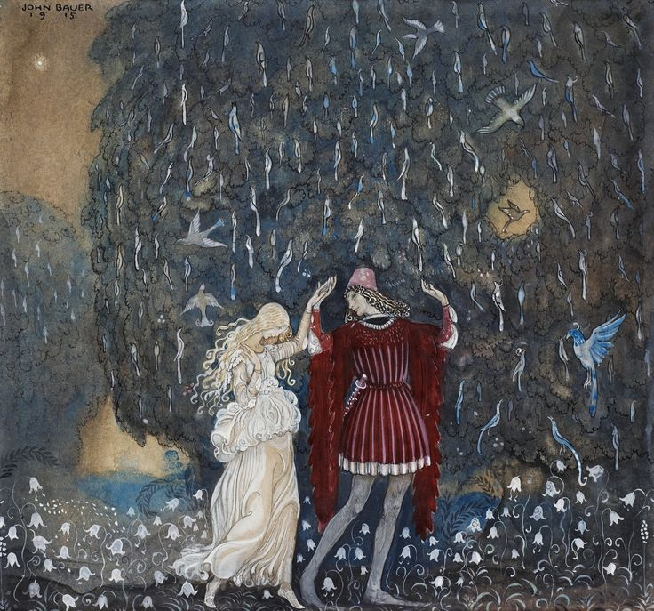 """Lena och riddaren dansa"" / "" Lena dances with the knight "" Signed John Bauer and dated 1915. Watercolour, heightening white, indian ink and pencil on paper. 26 x 28.5 cm.  This illustration was created by John Bauer (1882-1918) for W.E. Björk's fairy tale 'Guldnycklarna' in ""Bland tomtar och troll"" / ""Among gnomes and trolls"" in 1915."