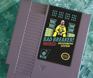 "Breaking Bad NES Cartridge -- The Breaking Bad NES cartridge accord fans and gamers identical a chance to own the greatest game they'll never get to play. This retro game entitle ""Bad Breaker"" act Walter White, a.k.a. Heisenberg sitting atop a meth throne in all his 8-bit glory."