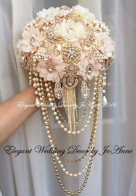 PINK AND GOLD CUSTOM BRIDAL BROOCH BOUQUET - $599.00 Total Price ____BROOCH BOUQUET DETAILS__________ Custom Vintage Inspired Draping Brooch Bouquet in soft Pink, Ivory and Gold. 9 Elegant Custom Designed Jeweled Wedding Bouquet is all handmade, very glam with a vintage flare. All Brooch Bouquets are made with only the best quality supplies, brooches and materials. This Brooch Bouquet Design can be customized and made to order. **** PLEASE do allow min 5-8 weeks on all brooch bouquet orders…