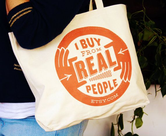 Etsy I Buy from Real People Tote Bag by EtsyStore on Etsy, $15.00
