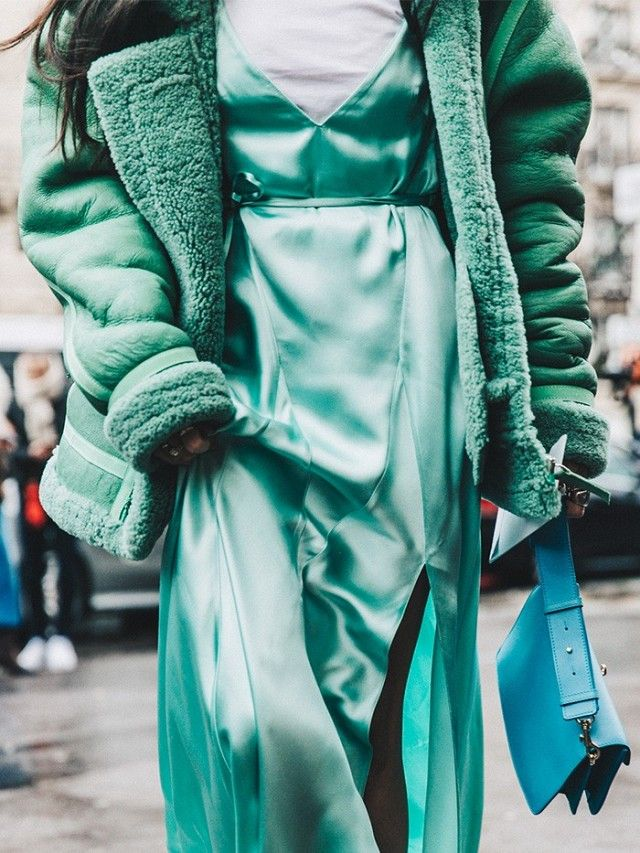 Monotone aqua outfit with a slip dress over a white tee and a matching jacket. Such a trendy fall outfit!! ~ Trend #5: Slip Dress Over a Tee