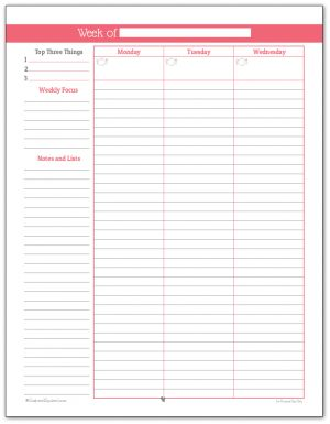 Full size planificateur hebdomadaire imprimable en Blush (Page One)
