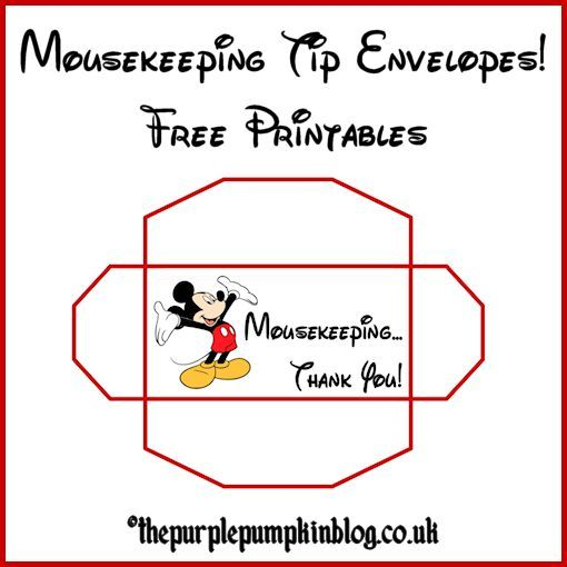14 Free Templates for Mousekeeping Tip Envelopes! Perfect for a Disney Vacation!