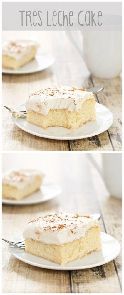 """Tres Leches Cake...sponge cake soaked with a mixture of """"three milks"""" and topped with a homemade whipped cream frosting. Delicious!"""