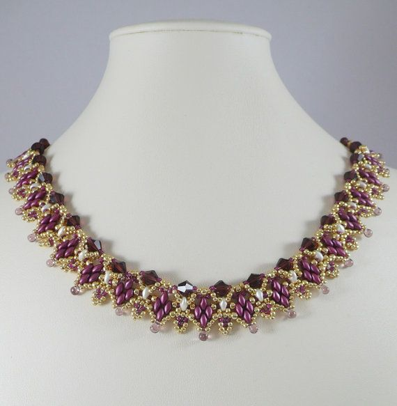 Woven Twin Bead Necklace Amethyst and Cream by IndulgedGirl