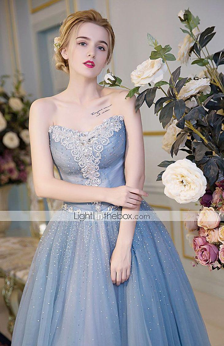 Evento Formal Vestido De Baile Tomara que Caia Longo Cetim / Tule / Cetim Elástico com Detalhes em Cristal de 5043995 2017 por R$608,37
