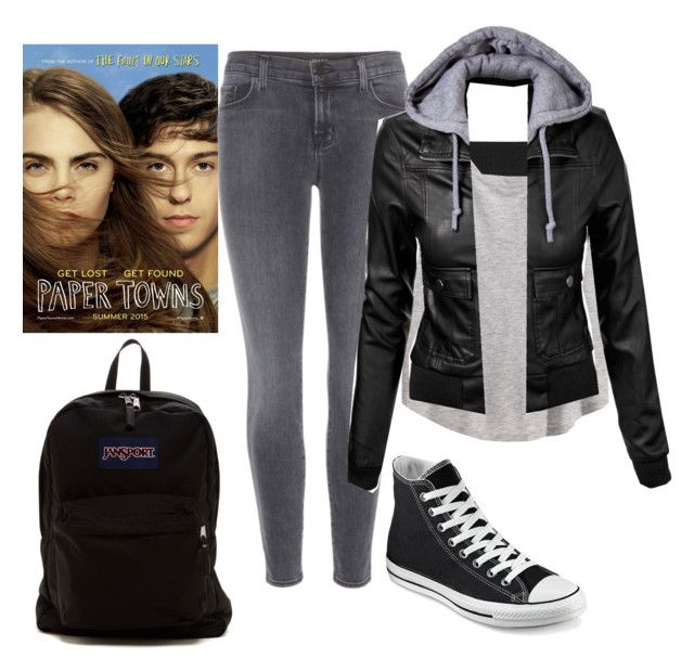 """""""Margo roth spiegelman"""" by happyhippieco ❤ liked on Polyvore featuring Balmain, H&M, J Brand, Converse and JanSport"""