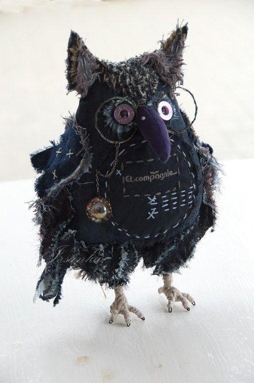 Owl Henry - Luxury Gift - Home Decor - Office Decor - Textile Art - Dark Blue - Bird