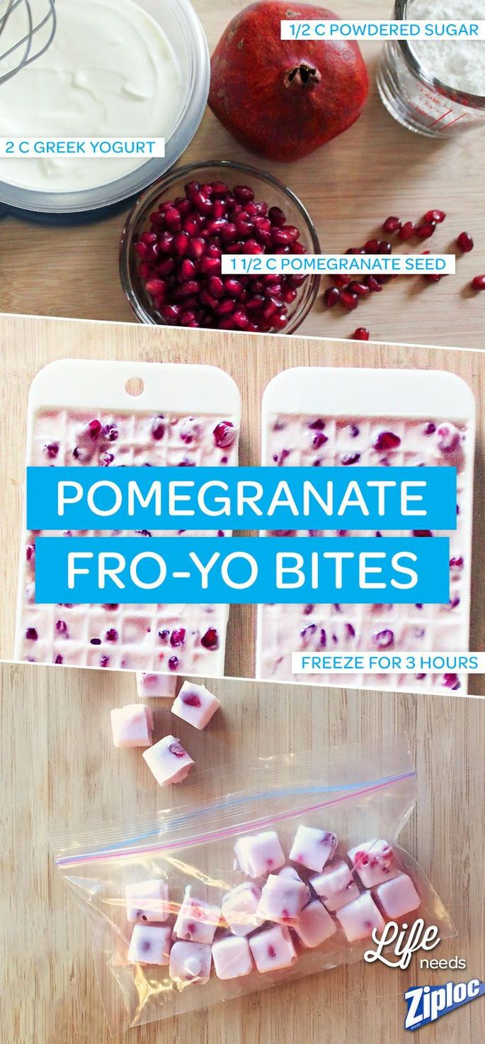 Delicious and nutritious. These frozen yogurt bites are made with real pomegranate seeds. Just mix yogurt, powdered sugar, and seeds (in that order), then pour into a mini ice cube tray. Freeze for 3 hours and youre done! Perfect summer snack.