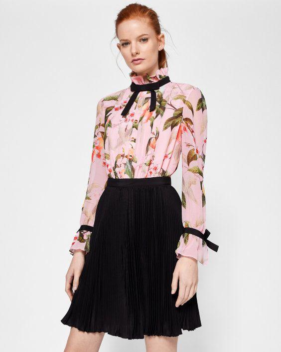 Peach Blossom ruffle pleated dress - Light Pink | Dresses | Ted Baker