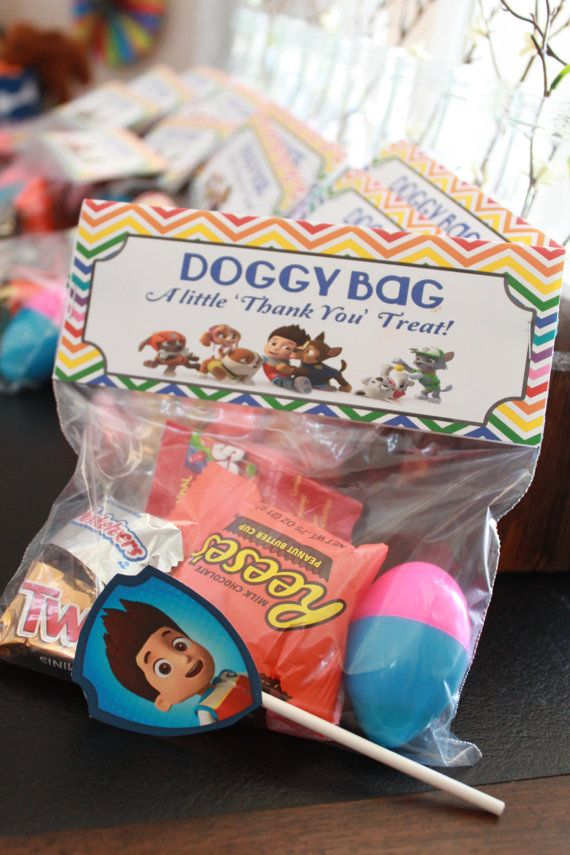 Paw Patrol 'Doggy Bag' Treat Bag Topper by ModInkDesign on Etsy, $4.00