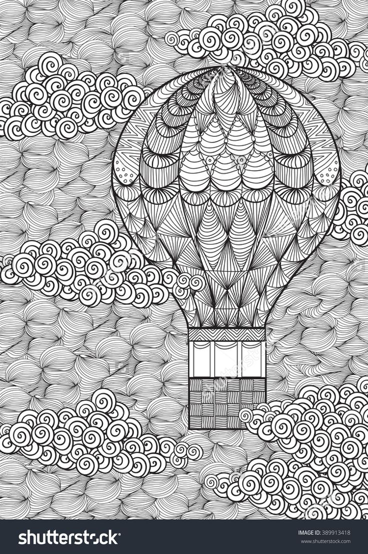 Printable coloring pages hot air balloons - Hot Air Balloon In Clouds Doodle Zentangle Adult Coloring Shutterstock 389913418