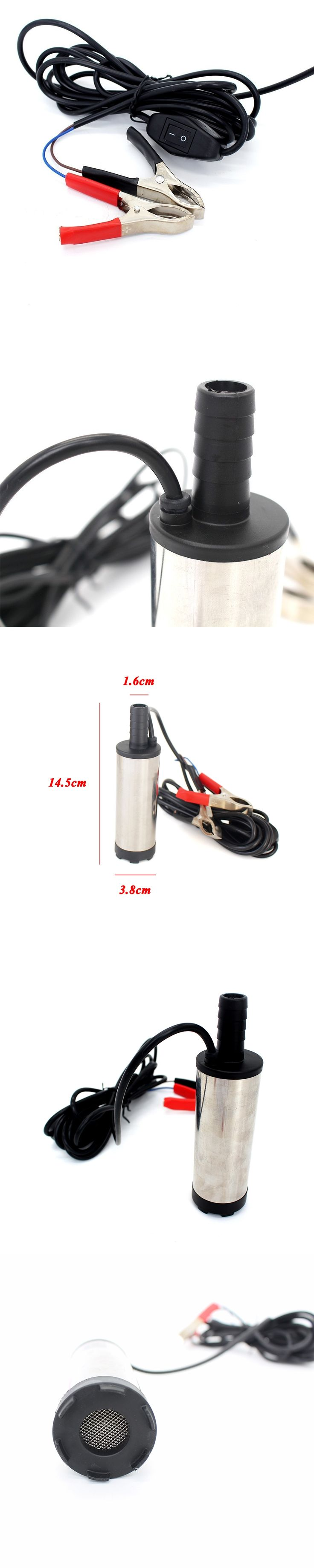 12V 24V DC electric submersible pump for pumping diesel oil water ,Stainless steel shell,12L/min,fuel transfer pump 12 V volt