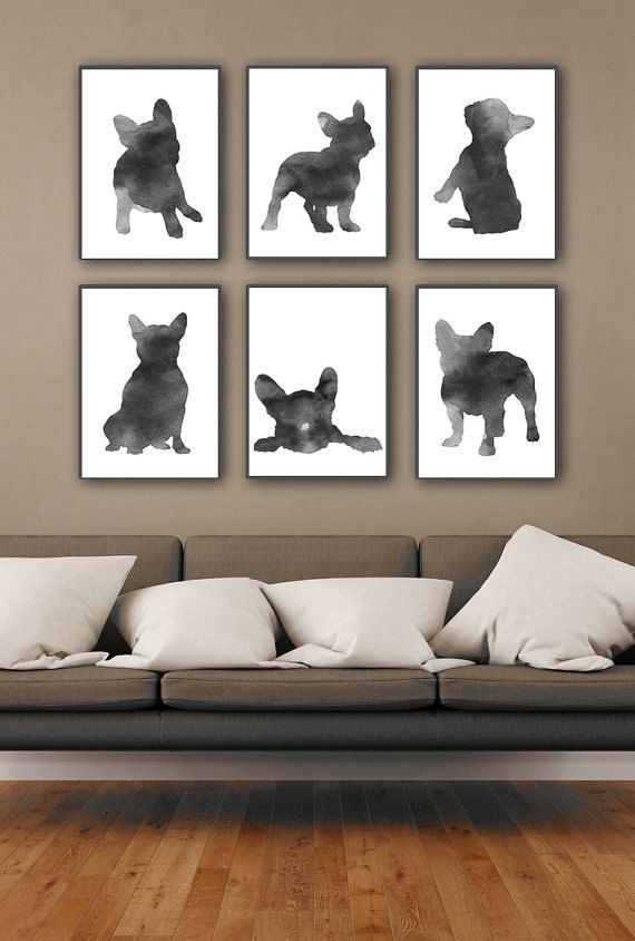 6 French Bulldog Watercolor Art Prints Grey Home Decor. Black and Gray Painting Frenchie Dog Silhouette. Animal Illustration Mens Gift Idea. A price is for the set of 6 Frenchie Art Prints as in the first picture.   Type of paper: Prints up to (42x29,7cm) 11x16 inch size are printed on Archival Acid Free 270g/m2 White Watercolor Fine Art Paper and retains the look of original painting. Larger prints are printed on 200g/m2 White Semi-Glossy Poster Paper.  Colors: Archival high-qualit...