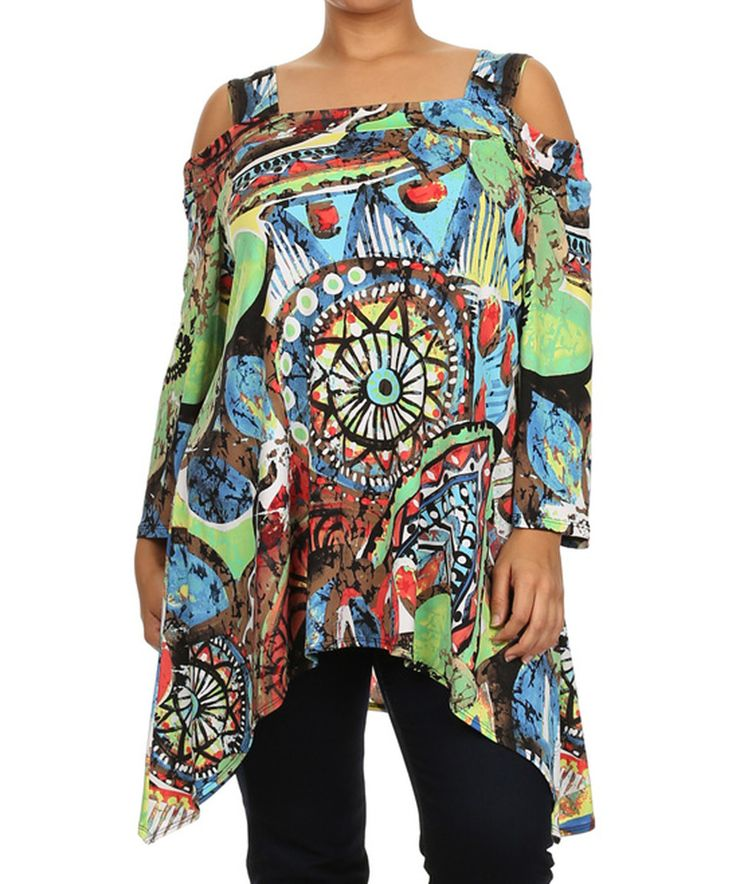 Come N See Green & Red Abstract Cutout Tunic - Plus by Come N See #zulily #zulilyfinds