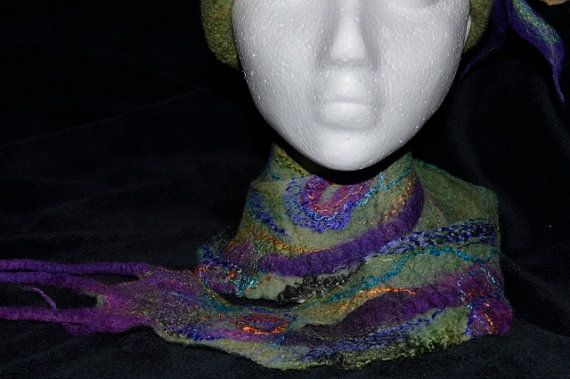 Merino wool and silk roving spiral scarf purple by FeltTheFluff, $45.00
