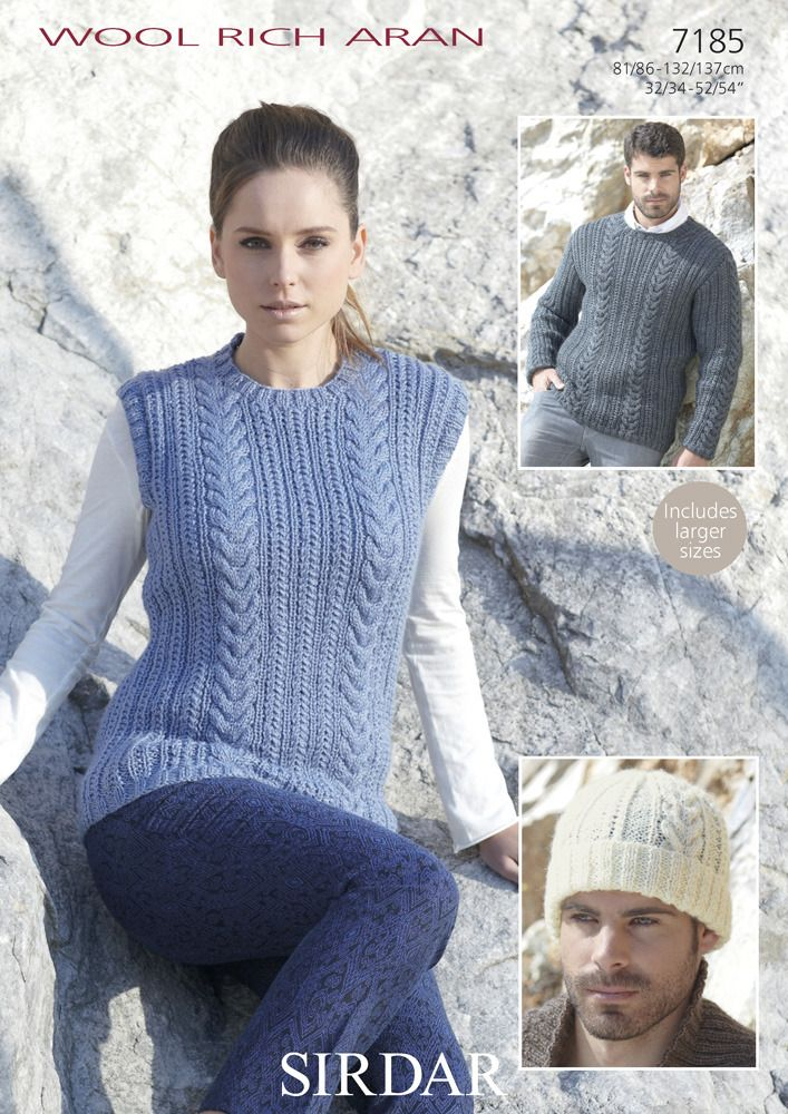 Round Neck Sweater, Cable Tank & Hat in Sirdar Wool Rich Aran - 7185