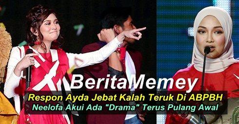 "Respon Ayda Jebat Kalah Di ABPBH Neelofa Pula Akui Ada ""Drama"" Terus Pulang Awal   Respon Ayda Jebat Kalah Di ABPBH Neelofa Pula Akui Ada ""Drama"" Terus Pulang Awal  Kali ini dua artis popular Malaysia Ayda Jebat dan Neelofa tampil berbicara tentang Anugerah Bintang Popular Berita Harian (ABPBH3.0).AYDA JEBAT Nama Ayda Jebat memang sudah popular di Malaysia. Namun penyanyi dan pelakon ini langsung tidak menang di Anugerah Bintang Popular minggu lepas. Walaupun tewas ini tidak mematahkan…"
