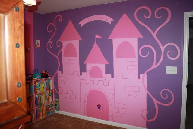 heART of Sarah Pink and Purple princess Castle mural