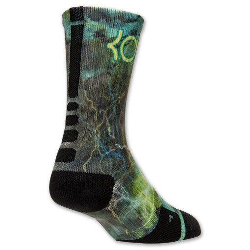 Men's Nike Elite KD Sprite Lightning Crew Socks | Finish Line | Hyper Jade/Black/Photo Blue