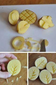bramborová tiskátka - listy stromu