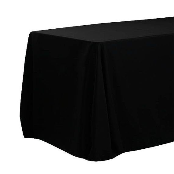 90 X 156 inch Black Rectangular Tablecloths with Rounded Corners, Black Oblong Table Cloths for 8 FT Tables  | Wholesale Black Table Linens