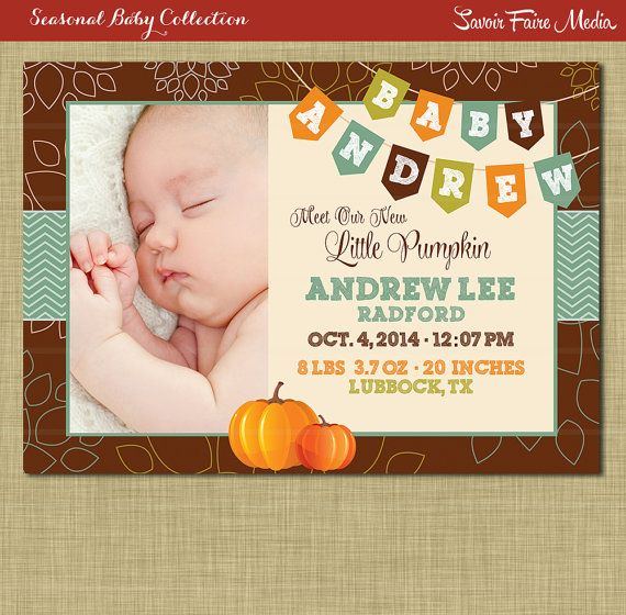 fall birth announcement      pumpkin boy autumn theme