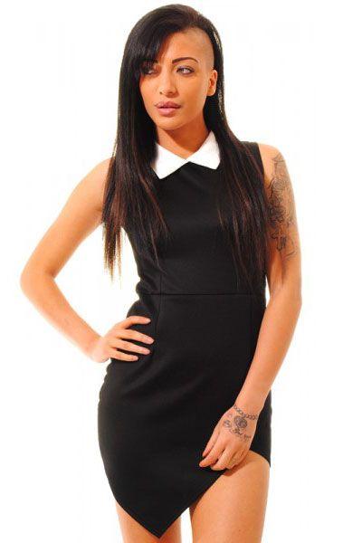 Black Contrasting Collared Bodycon Dress