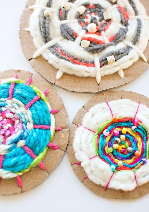 Explore the wonders of weaving with cardboard looms.