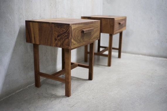 Pair of Solid Black Walnut Bedside Table/ by solidwoodlimited