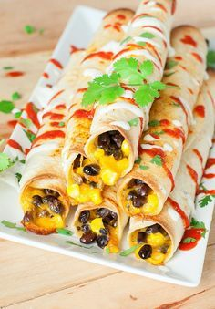 Cheesy Baked Black Bean Flautas