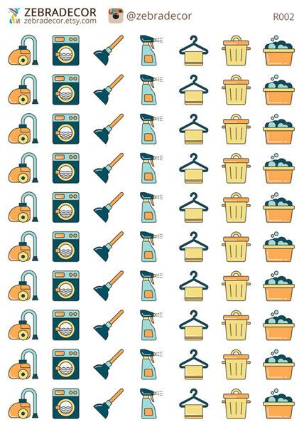 Planner Stickers Cleaning  stickers vacuum cleaner от ZebraDecor