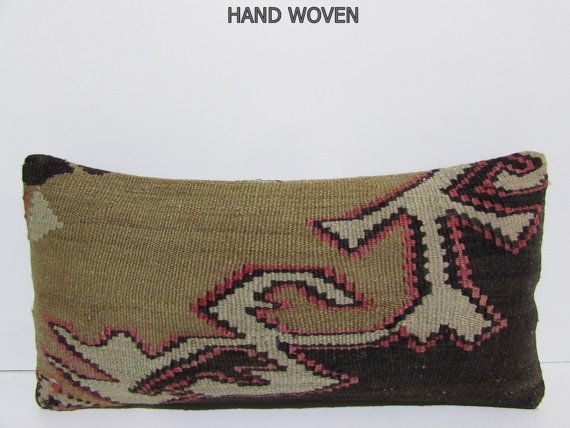 bohemian rug turkish throw pillow floor pillow cover contemporary pillow floor cushion bohemian cushion DECOLIC pink kilim pillow case F2093