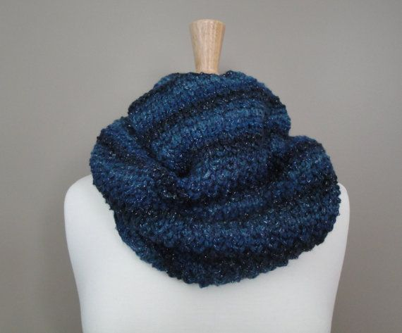 Luxurious Midnight Blue Knit Cowl by KnotYourAvgKnits on Etsy, $30.00