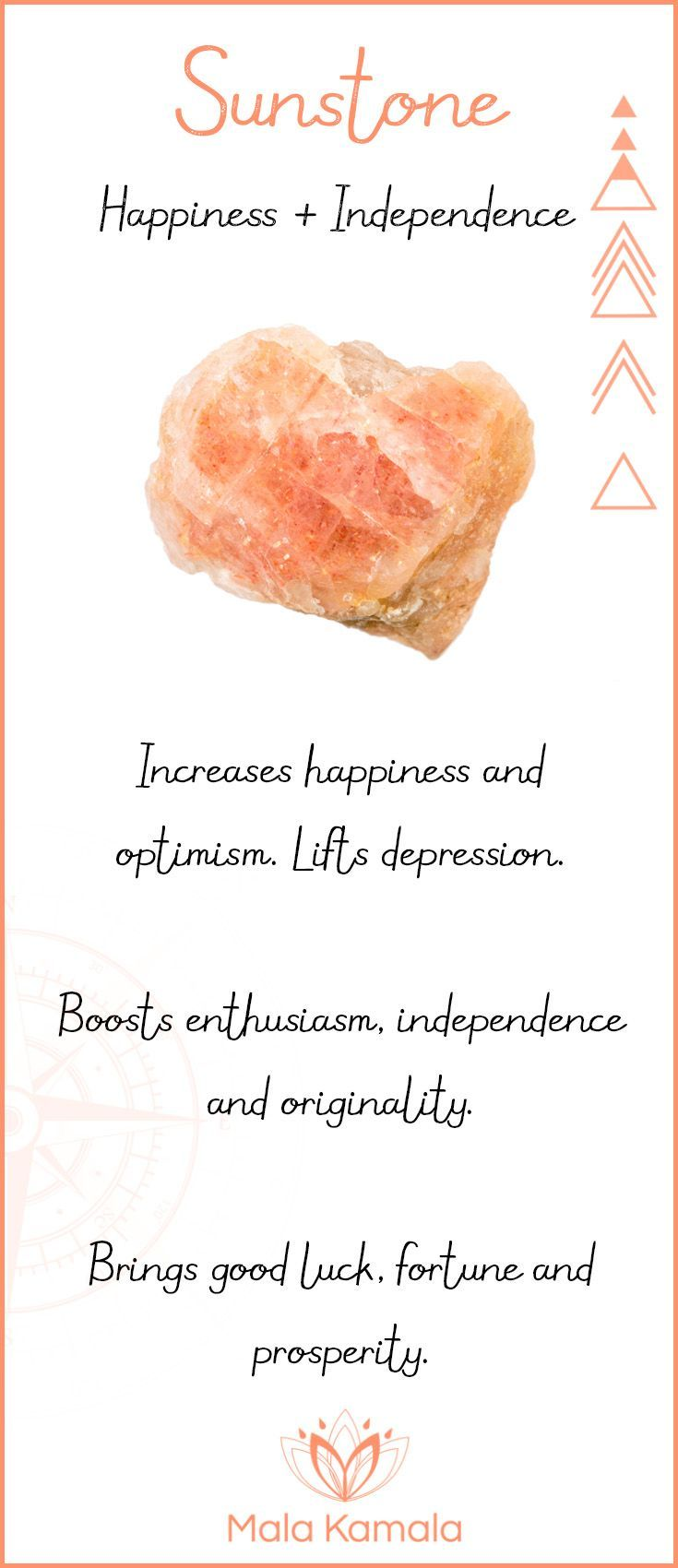 What is the meaning and crystal and chakra healing properties of sunstone? A stone for happiness and independence.
