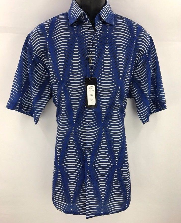 Bassiri Men's Short Sleeve Shirt Royal Blue White Gray Microfiber Sizes M - 4XL #Bassiri #ButtonFront