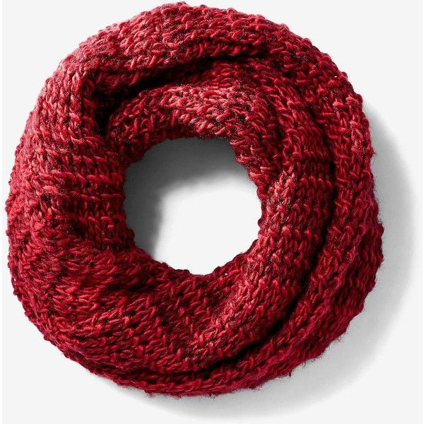 Express Red Marled Chunky Knit Snood ($21) ❤ liked on Polyvore featuring accessories, scarves, red, thick knit scarves, red snood, red shawl, express scarves and acrylic scarves