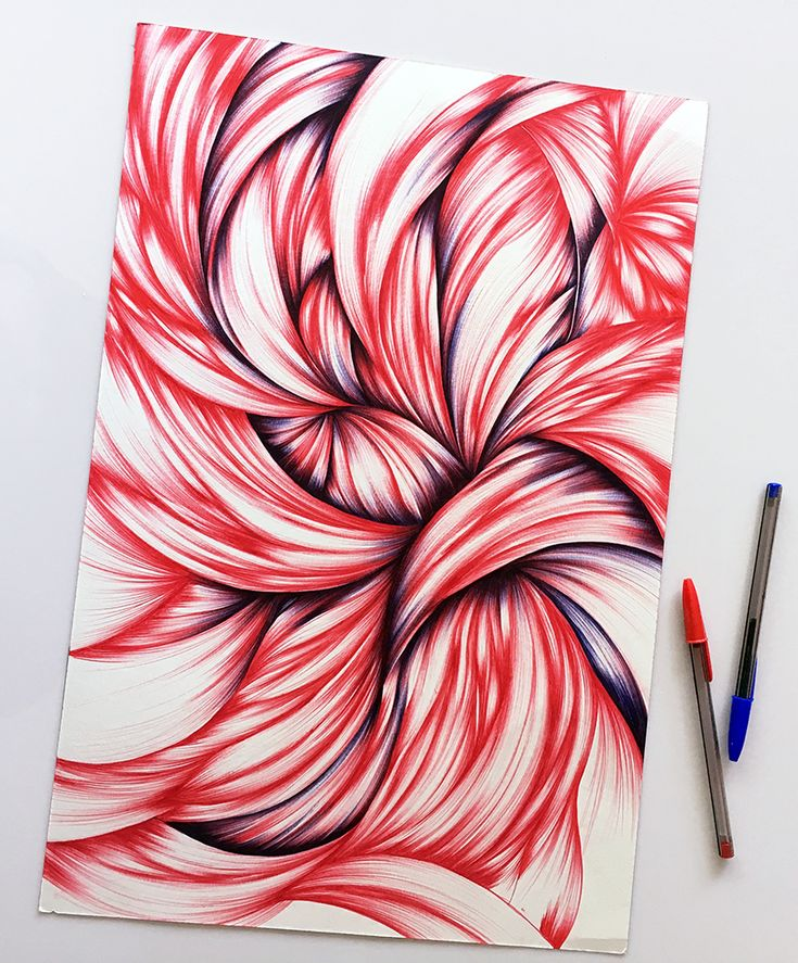 A work in progress shot of my large abstract ballpoint drawing. See how much more dimension the areas with the blue have than those with just red.