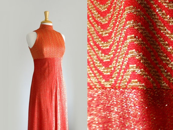 1960s shimmering op art gold and vermilion red by TheArborVitae, $36.00    This will definitely turn some heads!!