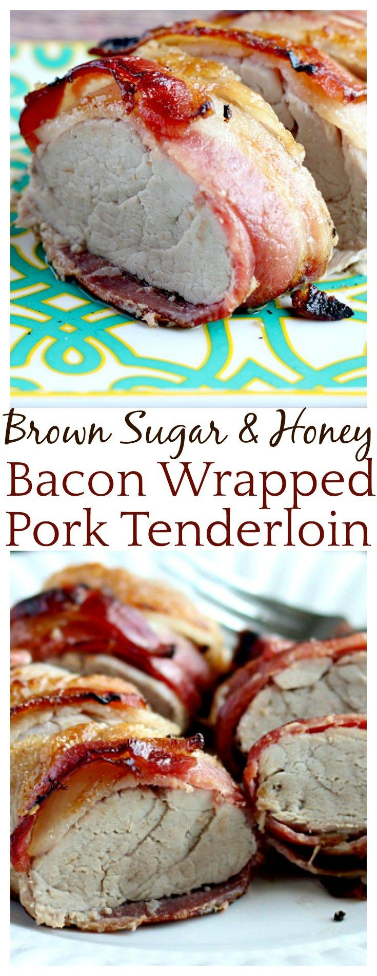 Brown Sugar and Honey Bacon Wrapped Pork Tenderloin - it really is as good as it sounds! Such an easy recipe! Just sprinkle on the sweets, wrap in smoky bacon, and you're set! I'd always heard that pork-on-pork was amazing but now I KNOW!