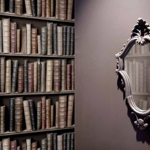 Book wallpaper...brilliant for a downstairs cloakroom - floor to ceiling, all walls!