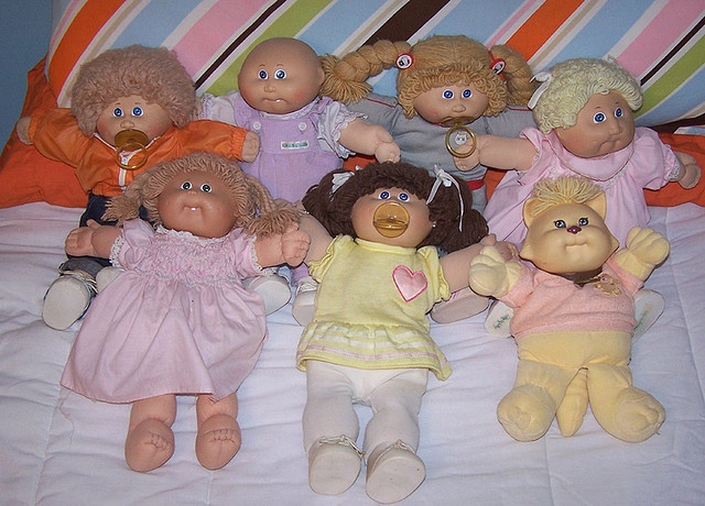 "Everyone had cabbage patch kids, but how many of us had ""Koosas""?  Their furry friends!"