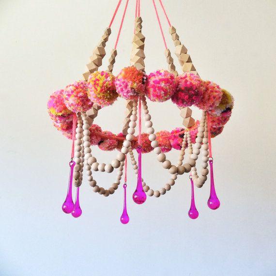 Wall Hanging Mobile PomPom Nursery Handmade Fiber Art by jujujust