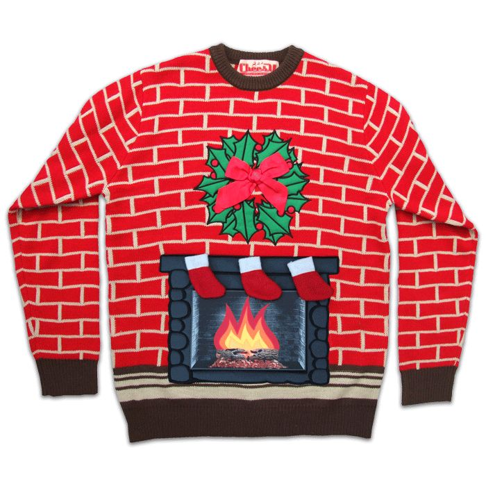 Flashing Fireplace Christmas Jumper by Cheesy Christmas Jumpers #christmasjumpers #christmassweaters #christmas #jumpers
