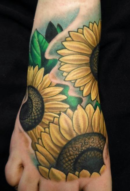 Tim Senecal - sunflower foot memorial tattoo #tattoo