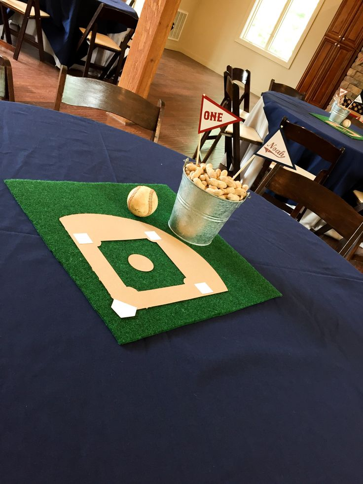 baseball-centerpiece Rookie of the Year First Birthday Party  A look inside all the details of a Rookie of the Year 1st Birthday party!  First birthday | smash cake | baseball theme party | rookie of the year | first birthday | event decor | first birthday party decor | baseball 1st birthday decor | bunting | concessions | dessert table | baseball centerpieces #firstbirthday #baseballparty #rookieoftheyearparty #smashcake